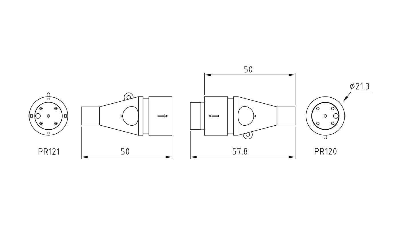 Connettori maschio-femmina PR120-121