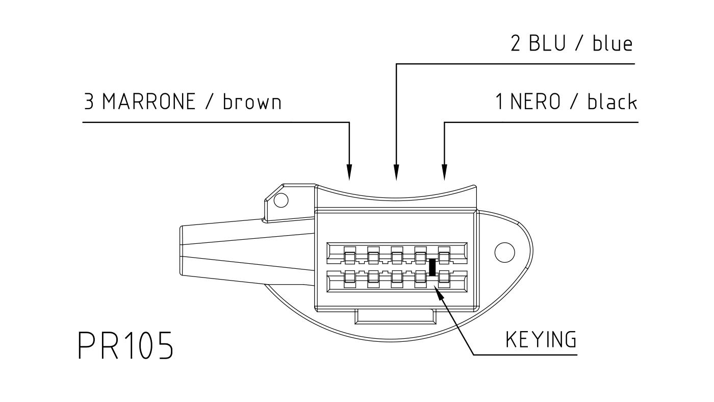 Connettori per attuatori e valvole 3 vie PR105